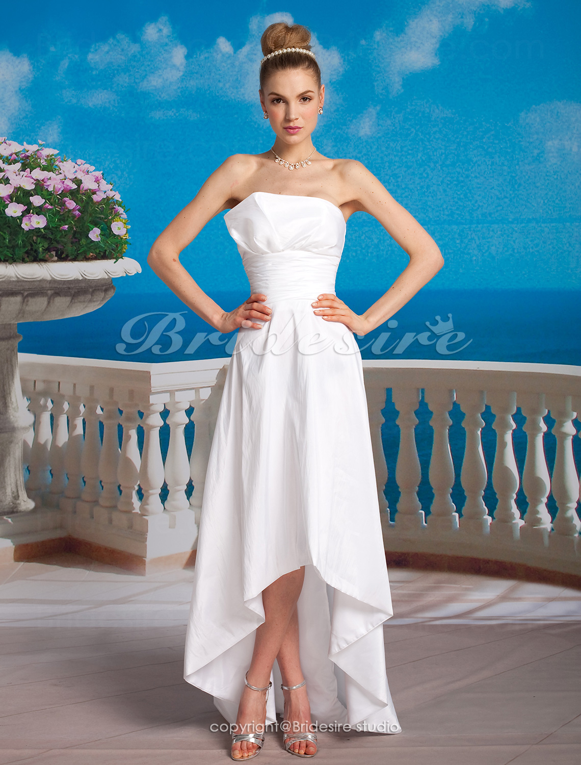 A-line Taffeta Asymmetrical Strapless Wedding Dress