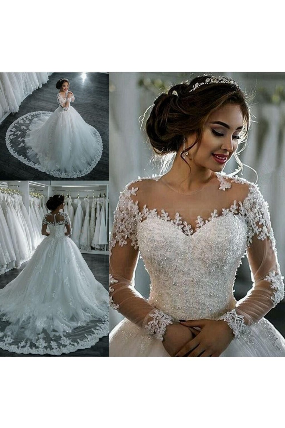 Ball Gown Scoop Long Sleeve Lace Wedding Dress